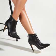 Snakeskin Embossed Stiletto Ankle Boots