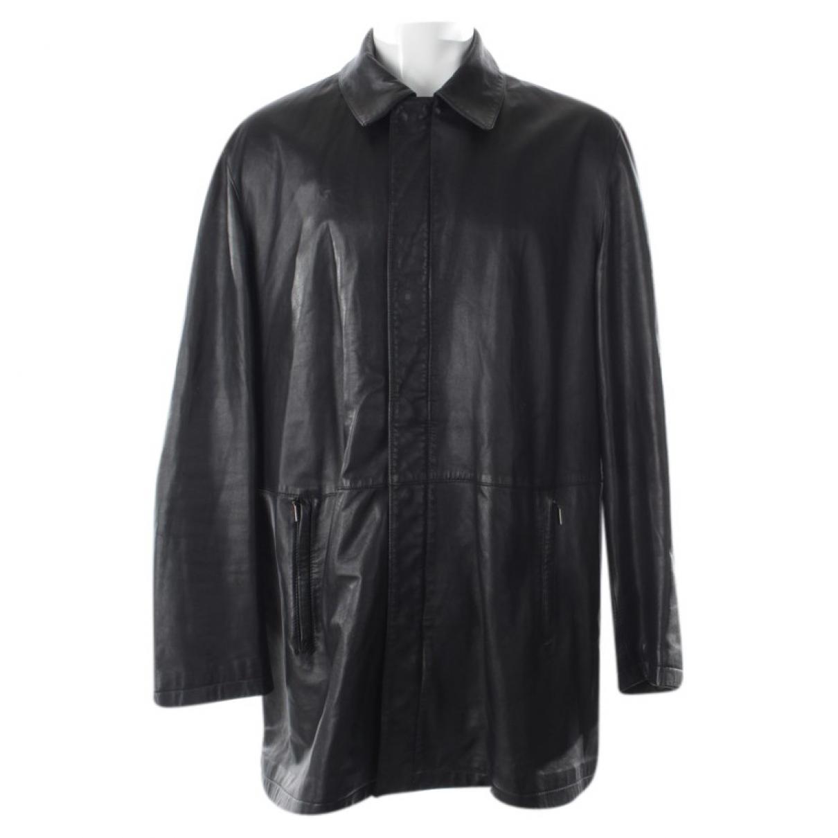 Armani Collezioni - Veste   pour femme en cuir - noir