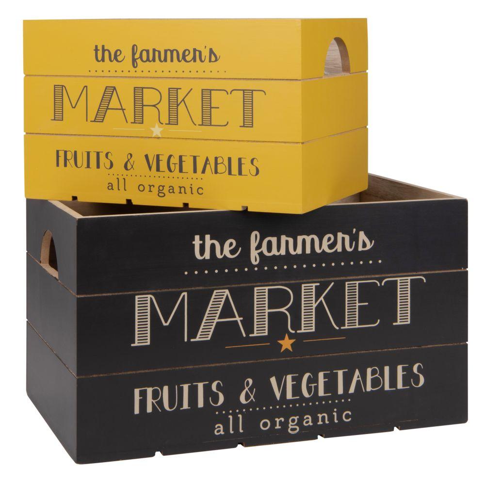 2 Kisten, gelb und schwarz, bedruckt
