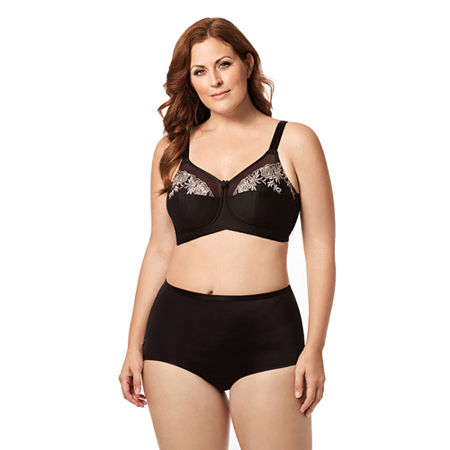 Elila Embroidered Microfiber Softcup Full Coverage Bra, A , Black