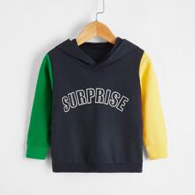 Toddler Boys Colorblock And Letter Graphic Hoodie