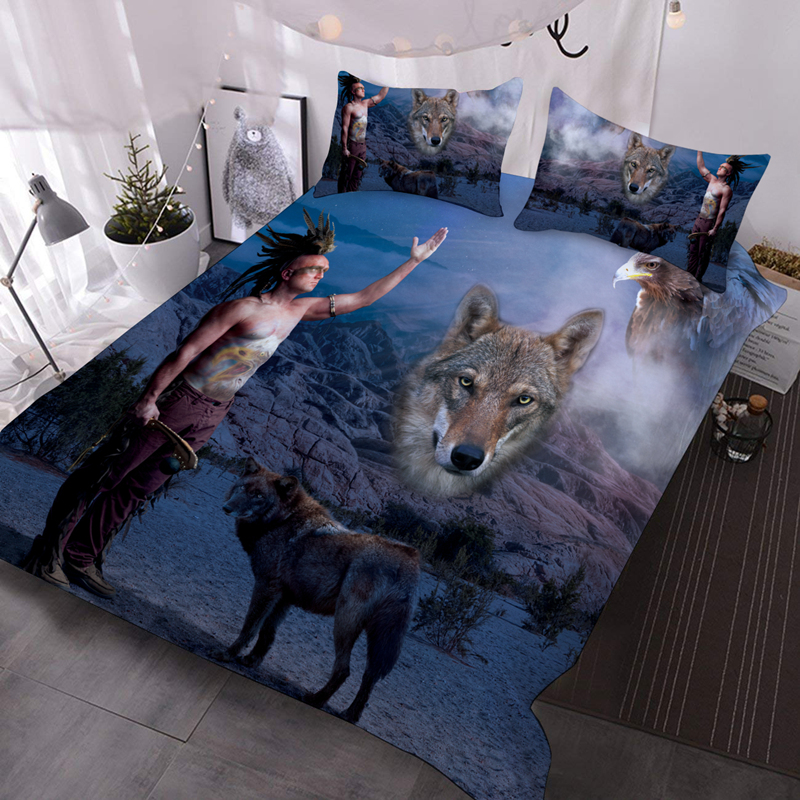 The Indian and the Wolf 3D Warm Animal Comforter 3-Piece Soft Comforter Sets with 2 Pillowcases