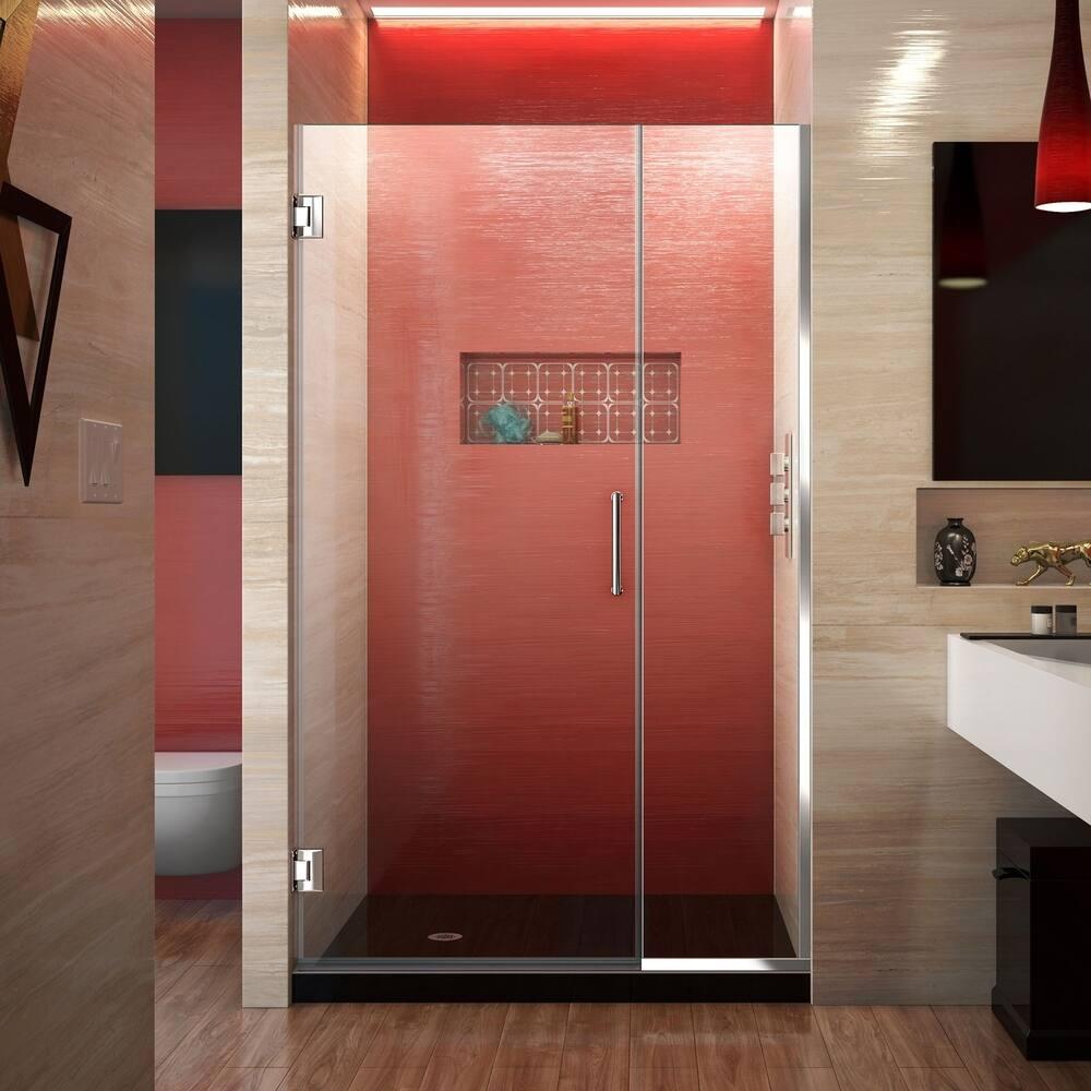 DreamLine Unidoor Plus 41-41 1/2 in. W x 72 in. H Frameless Hinged Shower Door - 41