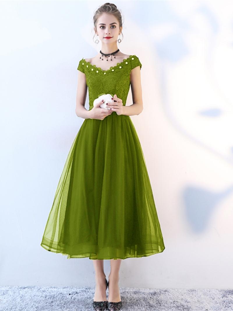 Ericdress A Line Cap Sleeve Lace Black Prom Dress