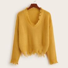 Distressed Hem Rib-knit Sweater
