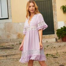 Contrast Lace Tie Back A-line Dress