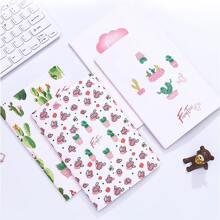 1 Stueck Zufaelliges Notizbuch mit Pflanzen Muster