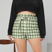 Shorts Tallas Grandes Cinta A cuadros Preppy