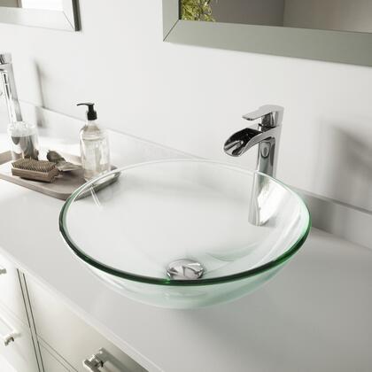 VGT1075 Crystalline Glass Vessel Bathroom Sink Set With Niko Vessel Faucet in