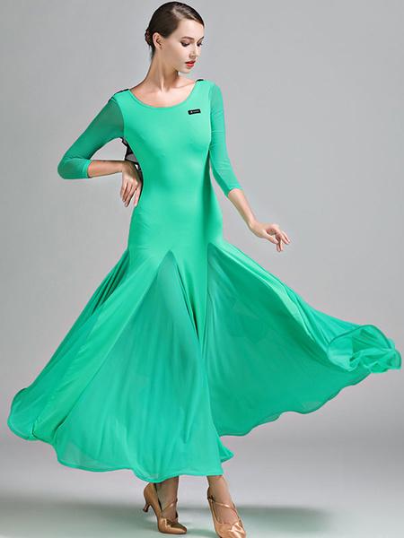 Milanoo Ballroom Dance Costumes Ruffle Silk Dress Women Dancing Wear