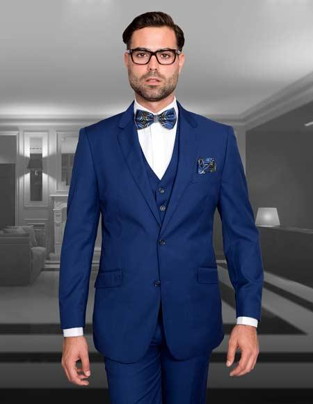 Mens Slim Fit Suit 3 Piece Sapphire Blue Single Breasted Wool Lorenzo