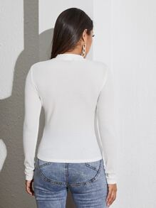 Mock-neck Solid Fitted Tee