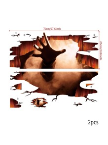 2pcs Halloween Hand Print Floor Sticker