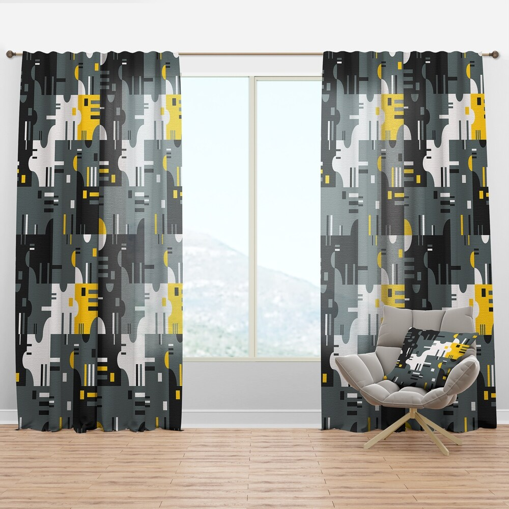 Designart 'Retro Abstract Design I' Mid-Century Modern Curtain Panel (50 in. wide x 63 in. high - 1 Panel)