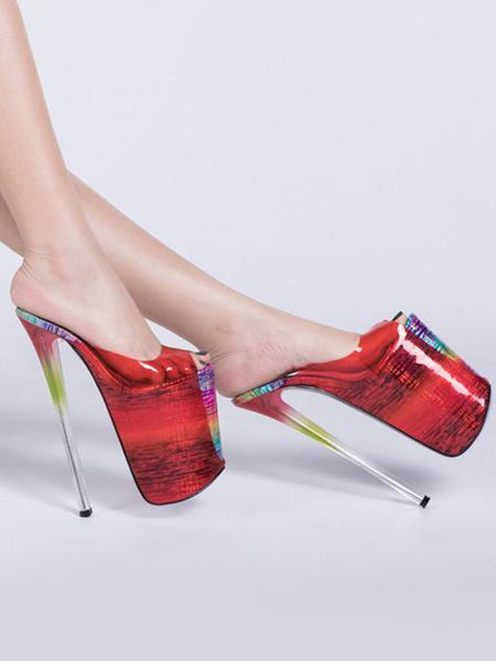 Milanoo Sandalias sexy de tacon alto Zapatos rojos de cuero de la PU del dedo del pie peep toe laser sexy
