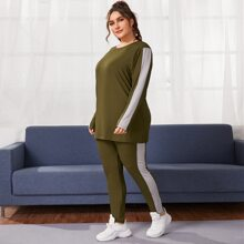 Plus Contrast Panel Rib-Knit Tee With Leggings