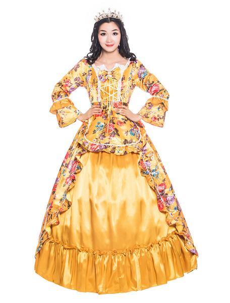 Milanoo Disfraz Halloween Naranja Trajes Retro Bows Ruffle Satinado Estilo victoriano Estampado floral Vestido Mujer Ropa Vintage Halloween Carnaval H