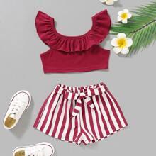 Toddler Girls Ruffle Trim Top & Striped Belted Shorts