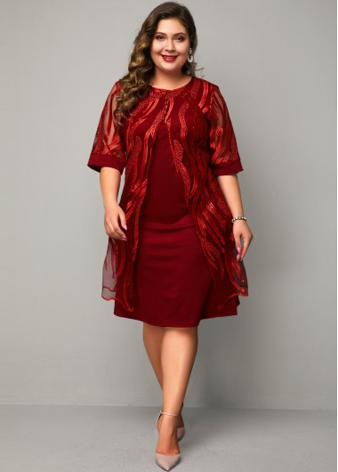 Women'S Red Plus Size Faux Two Piece Holiday Dress Solid Color Burgundy Three Quarter Sleeve Lace Panel Midi Dress By Rosewe - 1X