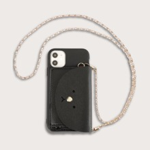 1 pieza funda de iphone de monedero con cadena