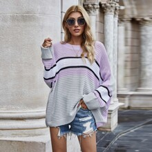 Colorblock Batwing Sleeve Oversized Sweater