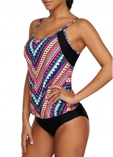 Double Strap Printed Tankini Top and Black Panty - M
