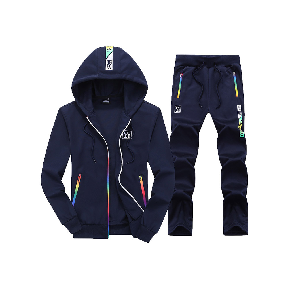 Sports Style Fall Patchwork Zipper Soft Men's Tracksuits