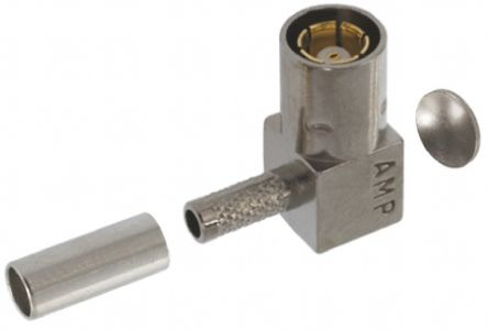 TE Connectivity Right Angle 50Ω Cable Mount Coaxial Connector, Plug, Nickel, Crimp Termination, RG174, RG188, RG316
