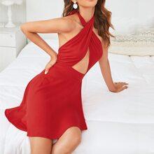 Kleid mit niedriger Rueckseite, Wickel Design und Neckholder
