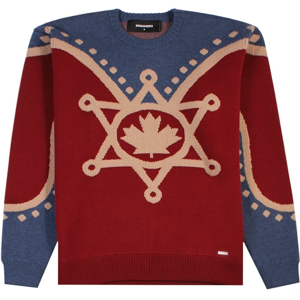 Dsquared2 Maple Leaf Knitted Jumper Red Colour: RED, Size: MEDIUM