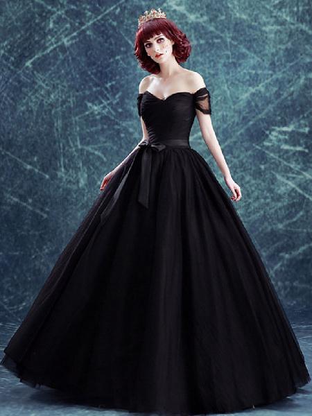 Milanoo Vestidos de novia goticos Tul Princesa Princesa Mangas cortas Cintura natural Plisado Hasta el suelo Vestido de novia