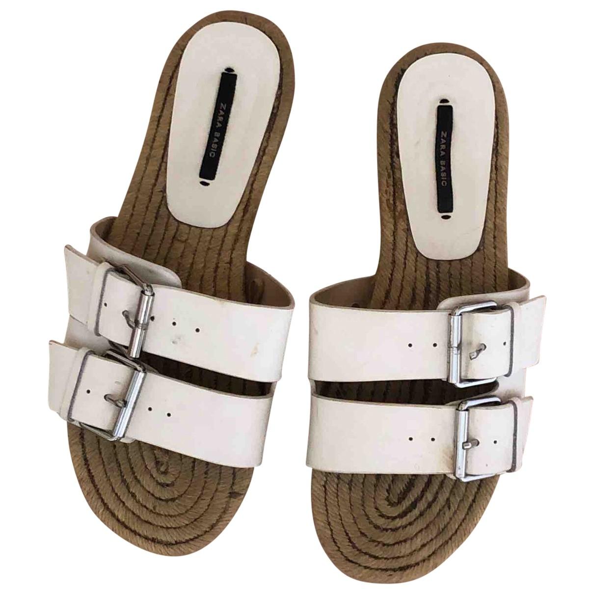 Zara - Sandales   pour femme en cuir - blanc