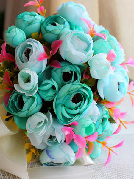 Milanoo Wedding Bouquet Blue Flowers Synthetic Ribbons Bridal Hand Flowers Bouquets