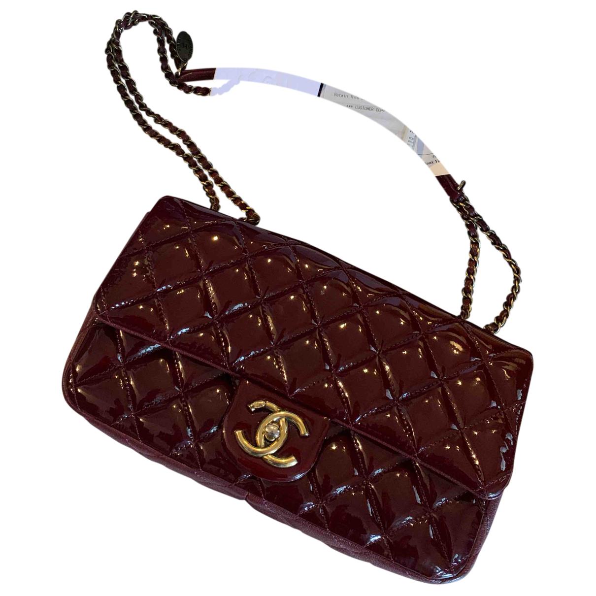 Chanel - Sac a main Timeless/Classique pour femme en cuir verni - bordeaux