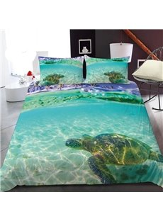 Turtles Swimming In The Shallows 3D Printed Polyester 1-Piece Warm Quilt
