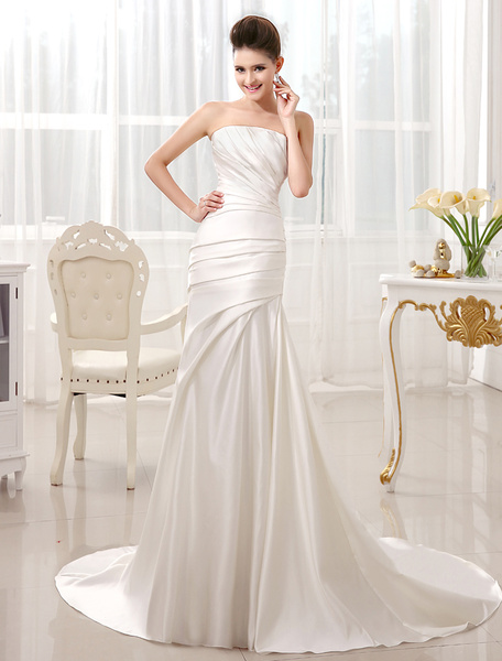 Milanoo Ivory Mermaid Court Train Bridal Wedding Dress with Strapless