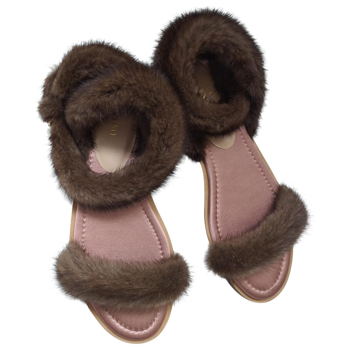 Valentino Garavani \N Brown Mink Sandals for Women 39.5 EU