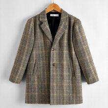 Einreihiger Mantel mit eingekerbtem Kragen und Karo Muster