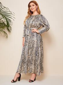 Plus Snakeskin Print Gigot Sleeve Self Belted Satin Dress