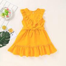 Toddler Girls Ruffle Trim Self Tie A-line Dress