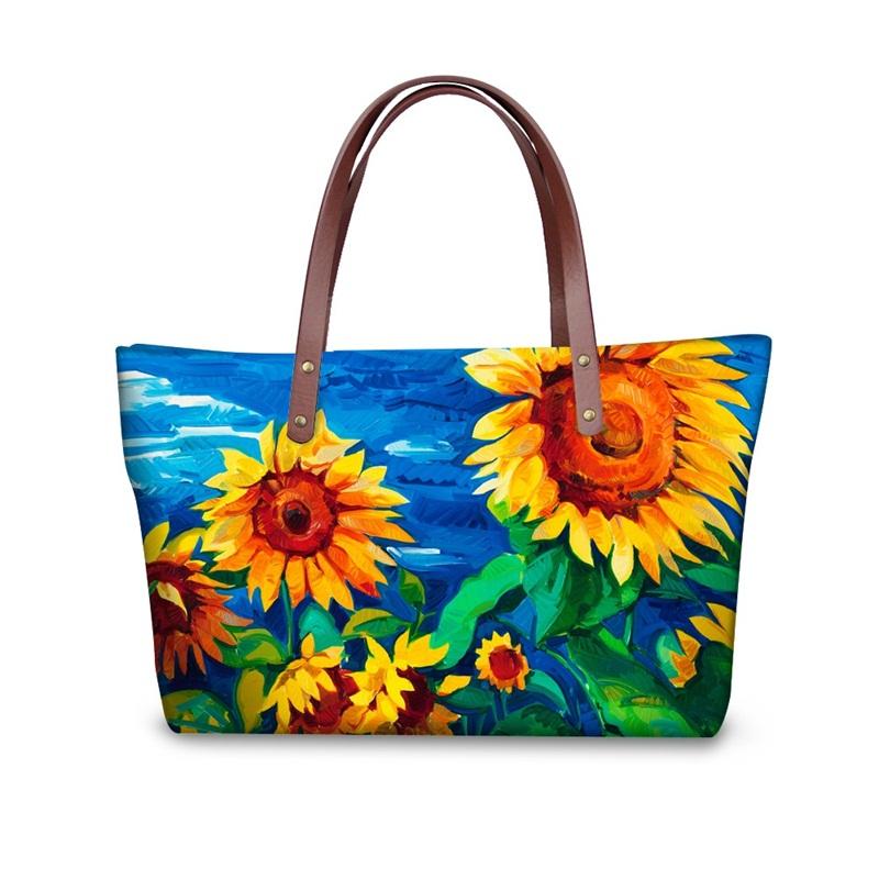 Sunflower Floral Painting Pattern Waterproof Sturdy 3D Printed for Women Girls Shoulder HandBags