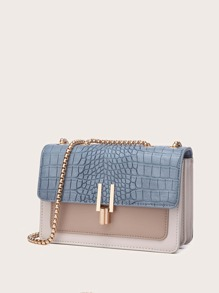 Croc Embossed Color Block Crossbody Bag