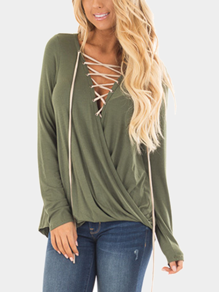 Yoins Green Lace-up Front Crossover Top