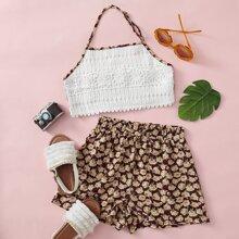 Top & Shorts Set mit Blumen Muster und Neckholder