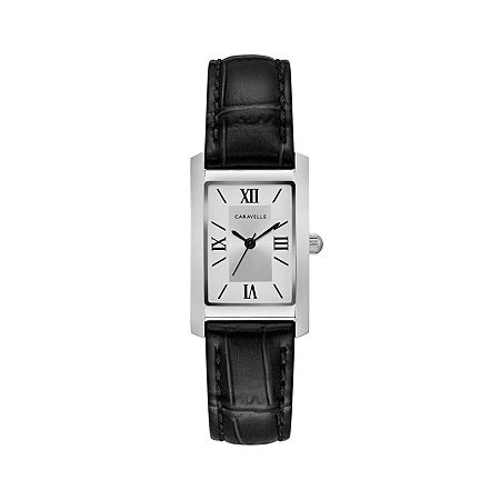 Caravelle Designed By Bulova Womens Diamond Accent Black Leather Strap Watch-43l202, One Size , No Color Family
