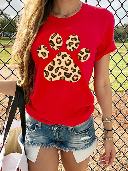 Yoins Casual Leopard Paw Print Crew Neck Short Sleeves Tee