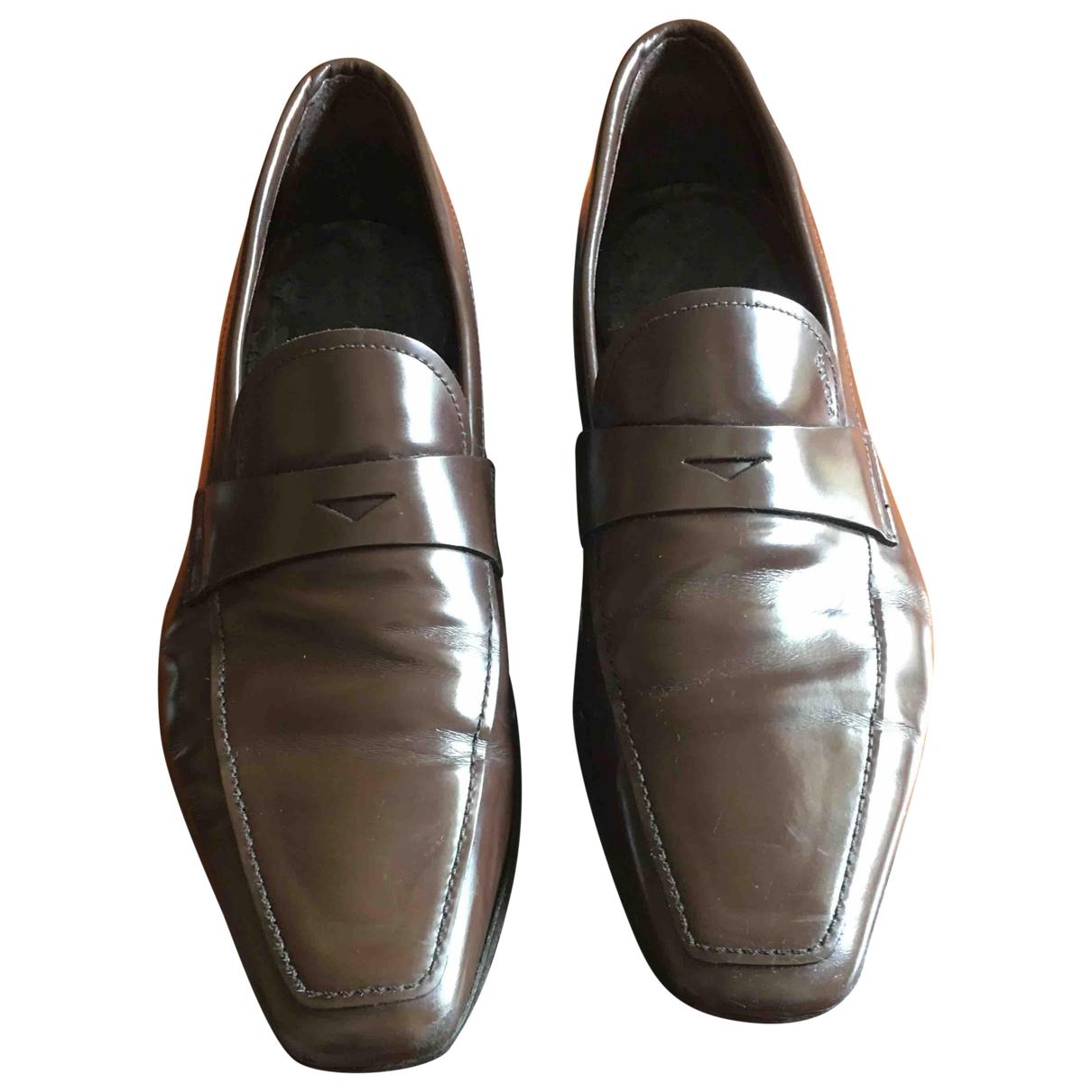 Prada \N Brown Leather Flats for Men 43.5 EU