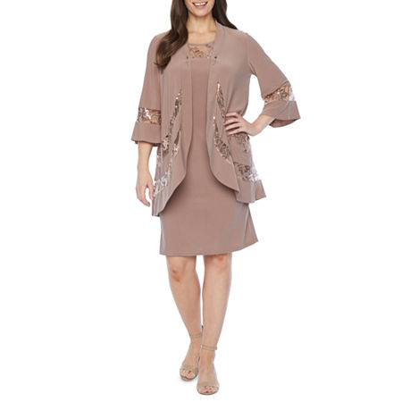 R & M Richards 3/4 Bell Sleeve Jacket Dress, 8 , Brown