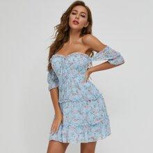 SBetro Floral Off-the-Shoulder Dress