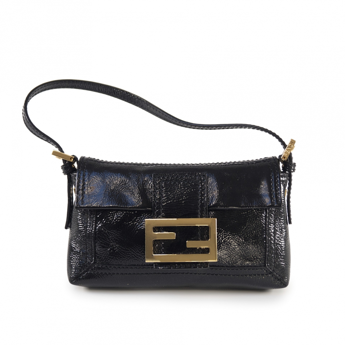 Fendi Baguette Handtasche in  Schwarz Lackleder